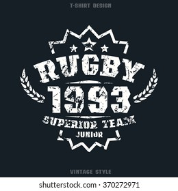Rugby team emblem. Graphic design for t-shirt. White print on black  background