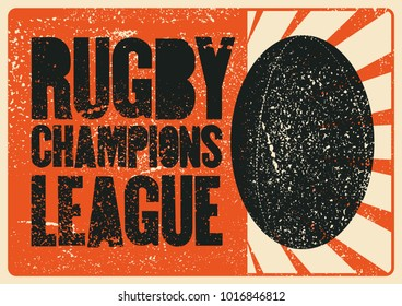 Rugby typographical vintage grunge style poster. Retro vector illustration.