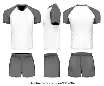 Rugby uniform jersey and shorts. Vector illustration.