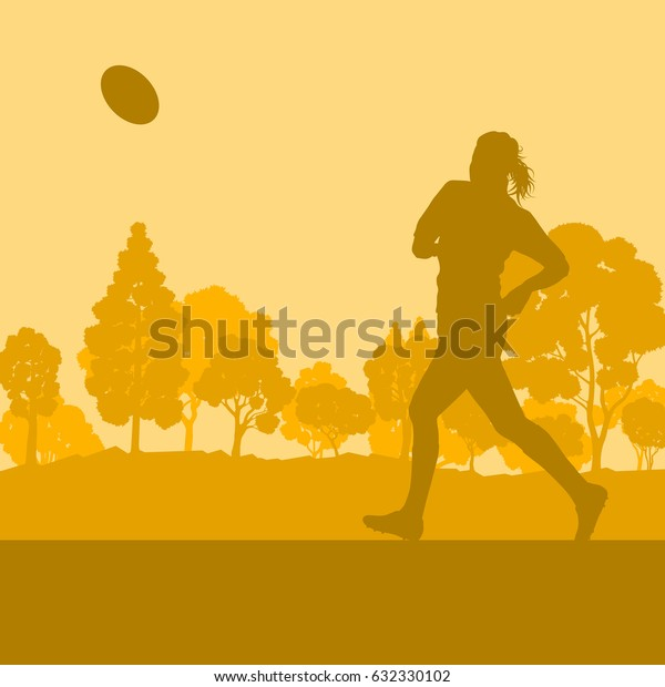 Rugby woman player vector background landscape with forest trees and field