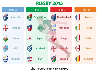 Rugby World Cup 2015 Pool A B C D teams vector set. Group sport, championship game, tournament international