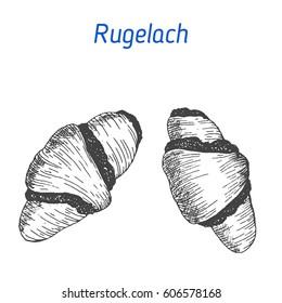 Rugelach vector illustration. Hand drawn image. Jewish food