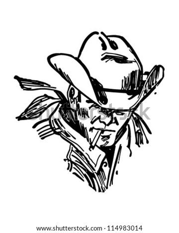 Rugged Cowboy Retro Clipart Illustration Stock Vector Royalty Free