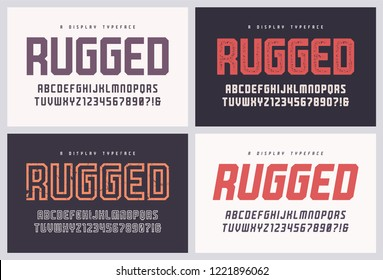 Rugged san serif vector font, alphabet, typeface, uppercase letters and numbers. Global swatches.