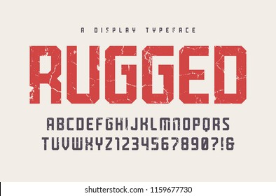 Rugged vector display typeface, font, uppercase letters and numbers, alphabet, typography. Global swatches.