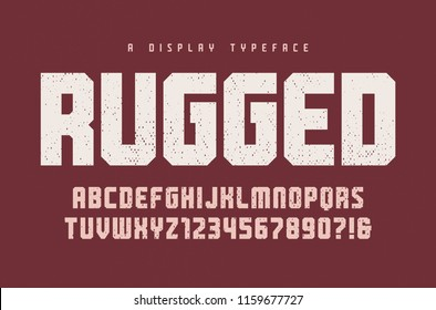 Rugged vector heavy display typeface, font, uppercase letters and numbers, alphabet, typography. Global swatches.