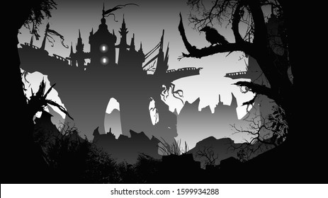 A ruined castle on a rock in the middle of a dark, sinister forest, a ruined bridge between two towers, and in the foreground old withered trees, behind sharp rocks.