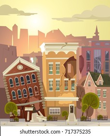Ruined city. Vector flat cartoon illustration