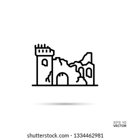 Ruined fantasy castle flat line icon. Fairy tale fortress ruins vector illustration.