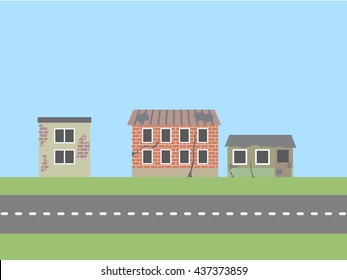 Ruined houses at the street