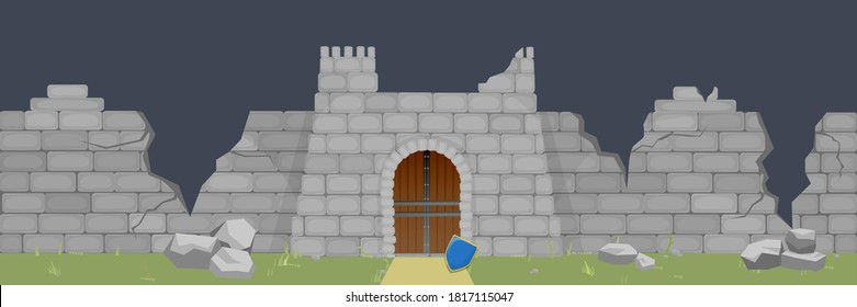 Ruined medieval fortress illustration. Broken walls and fortifications smashed by catapults thrown shield of castle defenders symbol of final defeat piles stones after battering vector cannon.