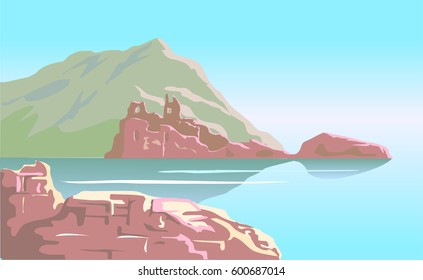 Ruins of the ancient castle on mountain island background.Vector