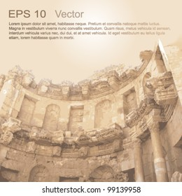 Ruins of Ancient City of Gerasa in Jerash, Jordan. Ancient architecture. Vector clip-art, isolated on neutral background.