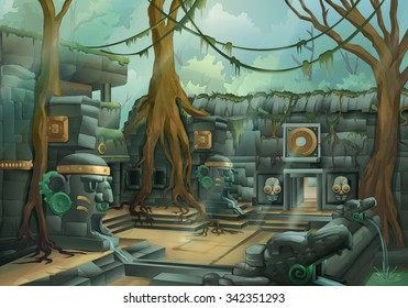 Ruins, jungle vector illustration