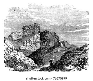 Ruins of the Main Palace in Babylonia in Babil, Iraq, during the 1890s, vintage engraving. Old engraved illustration of the Ruins of the Main Palace in Babylonia. Trousset encyclopedia
