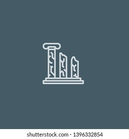Ruins vector icon. Ruins concept stroke symbol design. Thin graphic elements vector illustration, outline pattern for your web site design, logo, UI. EPS 10.