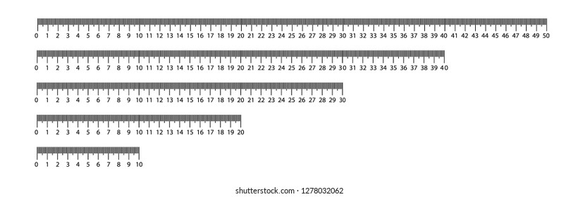 Ruler 10, 20, 30, 40, 50 cm. Measuring tool. Ruler Graduation. Ruler grid cm. Size indicator units Metric Centimeter size indicators Vector illustration EPS10
