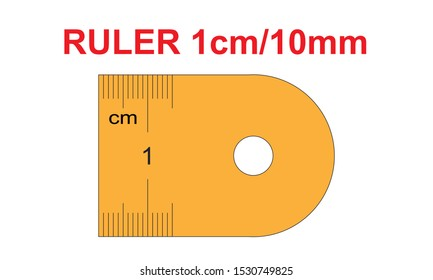Ruler of 10 millimeters. Ruler of 1 centimeters. Calibration grid, mockup. 1 mm increment. Scale 20:1