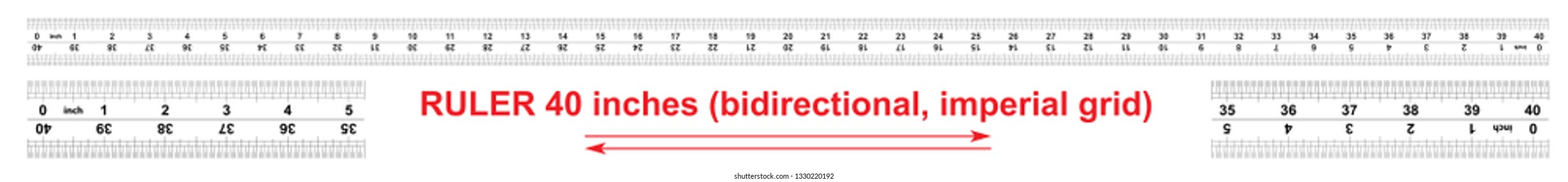 Ruler bidirectional 40 inches. Imperial calibration grid. The division price is 1/32 inch. Ruler double sided. Precise measuring tool.