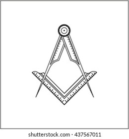 ruler and compass logo, dividers, scale, masonic sign