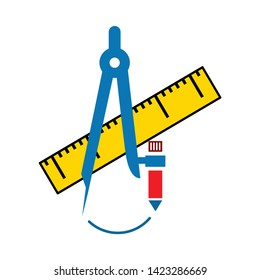 Ruler and drawing compass icon. flat illustration of Ruler and drawing compass vector icon for web