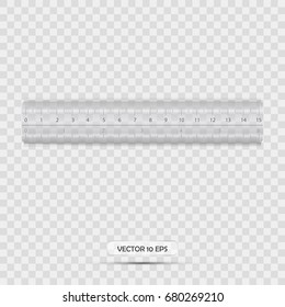 Ruler icon realistic with transparent background. Vector illustration. Plastic cm ruler.