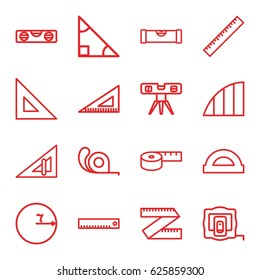 Ruler icons set. set of 16 ruler outline icons such as measure tape, tape, angle, protractor, triangle, circle