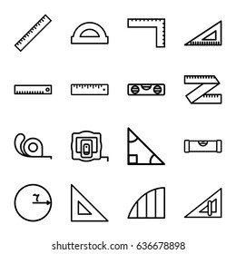 Ruler icons set. set of 16 ruler outline icons such as measure tape, tape, angle, protractor, triangle