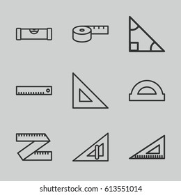 Ruler icons set. set of 9 ruler outline icons such as protractor, triangle
