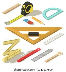 Ruler measure pencil icons set. Isometric illustration of 11 ruler measure pencil vector icons for web