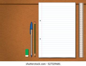 Ruler Pen Pencil Eraser Paper Stationery On Wooden Desk