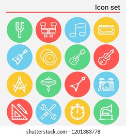 Ruler and pencil, compass, pair of binoculars, timer, guitar, cymbal, drums, cymbals, gramophone icon set suitable for info graphics, websites and print media and interfaces