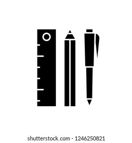 Ruler, pencil and pen black icon, vector sign on isolated background. Ruler, pencil and pen concept symbol, illustration