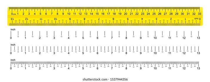 Ruler, school roulette, measure. Metric ruler on a white background. Vector illustration