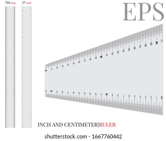 Ruler template. Vector with die cut / laser cut lines. Ruler inch and centimeter. White, clear, blank, isolated ruler mock up on white background