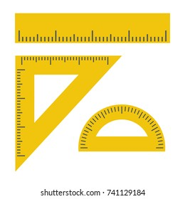 Ruler, Triangle Ruler, Protractor for School and Business. Vector Illustration