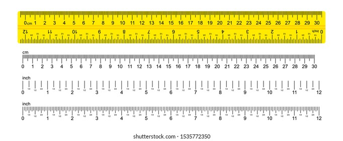 The ruler is yellow, marked in centimeters, inches and combined rectangular shapes. Graduation inch line. Vector graphics.