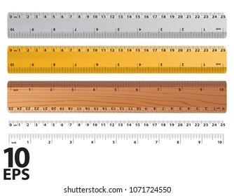 Rulers and ruler size indicators. Measure Tools Equipment. Realistic vector 3d illustration.