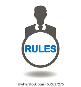 Rules Business Man Vector Icon. Rule businessman illustration. Regulations Standards Laws Compliance Justice.