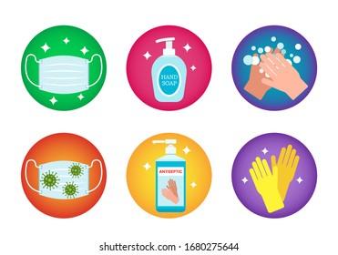 Verhaltensregeln für die globale Koronavirus-Pandemie. eine ärztliche Maske verwenden, Hände waschen, mit einem Antiseptikum behandeln. Hygiene mit Covid -19. Vektorillustration einzeln auf weißem Hintergrund