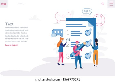 Rules in the document, regulations with office workers, Society control guidelines and strategy vector illustrationю Team fill out  checklist on a clipboard paper