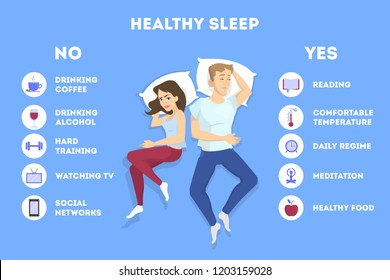 Rules of good healthy sleep at the night. List of advice to get rid of insomnia. Helpful brochure with guideline. Recommendation for good slepping. Flat vector illustration