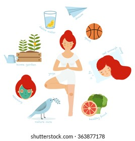 Rules of healthy lifestyle. Vector flat illustrations