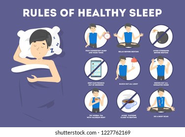 Rules of healthy sleep. Bedtime routine for good sleep at night. Man sleeping on the pillow.Brochure for people with insomnia. Isolated flat vector illustration