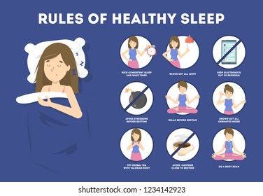 Rules of healthy sleep. Bedtime routine for good sleep at night. Woman sleeping on the pillow.Brochure for people with insomnia. Isolated flat vector illustration