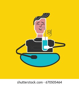 Rules for kids. Good manners and etiquette.Slurping. Table manners.Boy drinks juice with pleasure. Funny flat vector style.