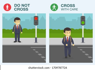 Rules for pedestrians. The meaning of traffic light signals. School kid walking across pedestrian crossing. Road safety rules for school children. Flat vector illustration.