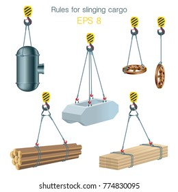Rules for slinging cargo. Safety at the construction site. Lifting of building units. Set of vector illustrations on white background