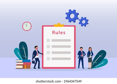 Rules vector illustration. Business people with business rules list on a clipboard