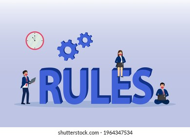Rules vector illustration. Group of business people working on rules text with laptop